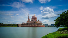A Mosque and a calm lake time lapse (720p) Stock Footage