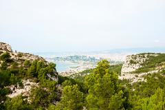Hills, mountains and see of calanque national park, marseille Stock Photos