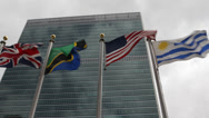 Stock Video Footage of United Nations Building Headquarters International Flags UN Council Human Rights