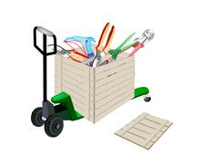 Pallet Truck Loading Craft Tools in Shipping Box - stock illustration