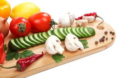 set fresh vegetables isolated on white background. - stock photo