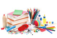 School and office supplies on white background. back to school. Stock Photos