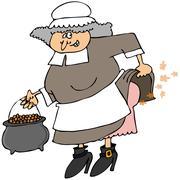 Pilgrim woman passing gas Stock Illustration