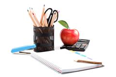 school and office supplies on white background. - stock photo