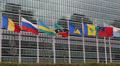 United Nations Building Landmark International Flags Diplomat Conflict Sanction HD Footage