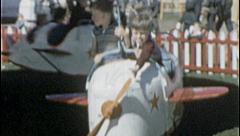 Tiny Pilots Airplane KIDS RIDE Amusement Park 1950s Vintage Film Home Movie 7237 Stock Footage