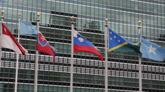 United Nations Headquarters New York City Global Countries National Flags Waving Stock Footage