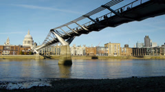 Tate Modern bridge and Saint Paul's, London. Stock Footage