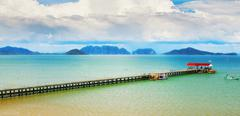koh lanta pier - stock photo