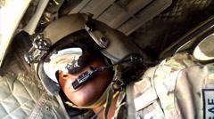 Chinook door gunner Stock Footage