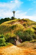 lighthouse on a hill - stock photo