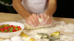 Kid hands kneading the dough Stock Footage