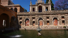 Gardens in Alcazar of Seville, Spain Stock Footage