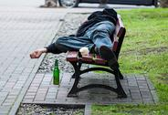 Stock Photo of drunkard on bench