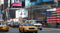 Junction Broadway 7th Ave Times Square Broadway Theaters LED signs Car Traffic Stock Footage