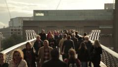 Millennium Bridge Crowds 3 Stock Footage