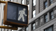 Pedestrian Crosswalk Sign New York City Traffic Light Illuminated Hand Stop NYC Stock Footage