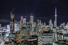 Downtown toronto at night Stock Photos