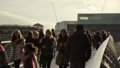 MIllennium Bridge Crowds 2 Stock Footage