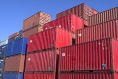 Containers at the port for shipment Stock Photos