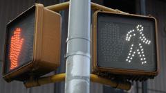 Crosswalk OK Sign Manhattan Traffic Light New York City Intersection Crossroad Stock Footage