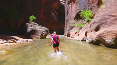 Hiking the Narrows Stock Footage