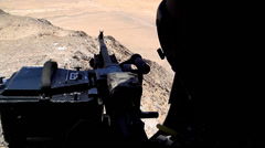 Chinook door gunner - stock footage