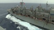 Stock Video Footage of USS Nimitz Replenishment at Sea Alongside USNS Rainier