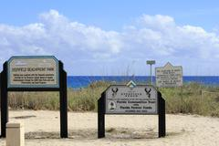 Signs at deerfield beachfront park Stock Photos