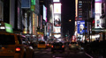 Iconic Place Midtown Buildings Yellow Cabs Intersection USA Times Square Night HD Footage
