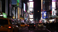 Iconic Place Midtown Buildings Yellow Cabs Intersection USA Times Square Night Stock Footage