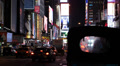 American Road Sign Advertisement Boulevard Cars Moving Times Square Night Lights Footage