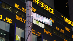NYC Stock Exchange Market Shares Ticker Board Loss Profit Display Broadway Stock Footage