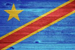 Democratic republic of the congo flag painted on old wood plank background. Stock Photos