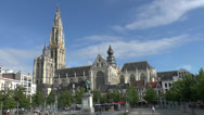 Stock Video Footage of The Onze-Lieve-Vrouwekathedraal (OLV Cathedral) in Antwerp, Belgium.