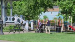 Woman with stroller Stock Footage