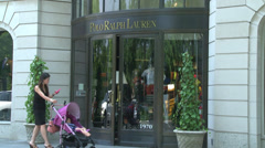 Mom and stroller at Polo Ralph Lauren - stock footage