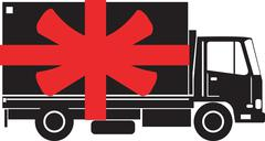 Delivery truck side gift ribbon. Stock Illustration