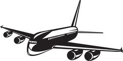 Commercial jet plane airline woodcut. Stock Illustration