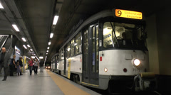 No 9 train (Antwerp Premetro) leaving a a station platform, Antwerp, Belgium. Stock Footage