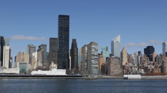 New York City Manhattan Midtown Panorama Skyscrapers East River Scenery Scenic Stock Footage
