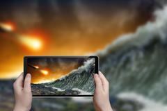 Tsunami photograph Stock Photos
