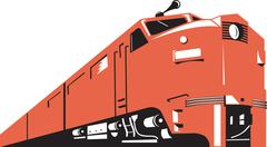 diesel train retro. - stock illustration