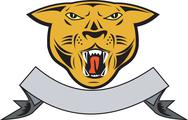 Stock Illustration of puma big cat growl head isolated.