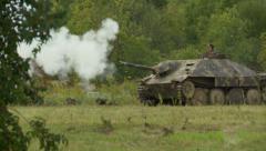 German tank shoots - stock footage