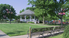 Park benches near gazebo (2 of 2) Stock Footage