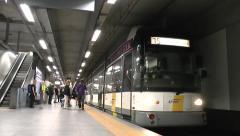 No 15 metro train pulling into station, Antwerp, Belgium. Stock Footage