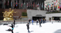 People Enjoying Rockefeller Center Ice Skating Rink Cold Winter New York City Footage