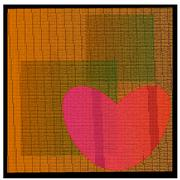 Textured heart applique on background of squares Stock Illustration