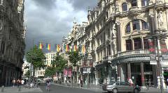 General view along the main shopping street, Leysstraat, in Antwerp, Belgium. Stock Footage